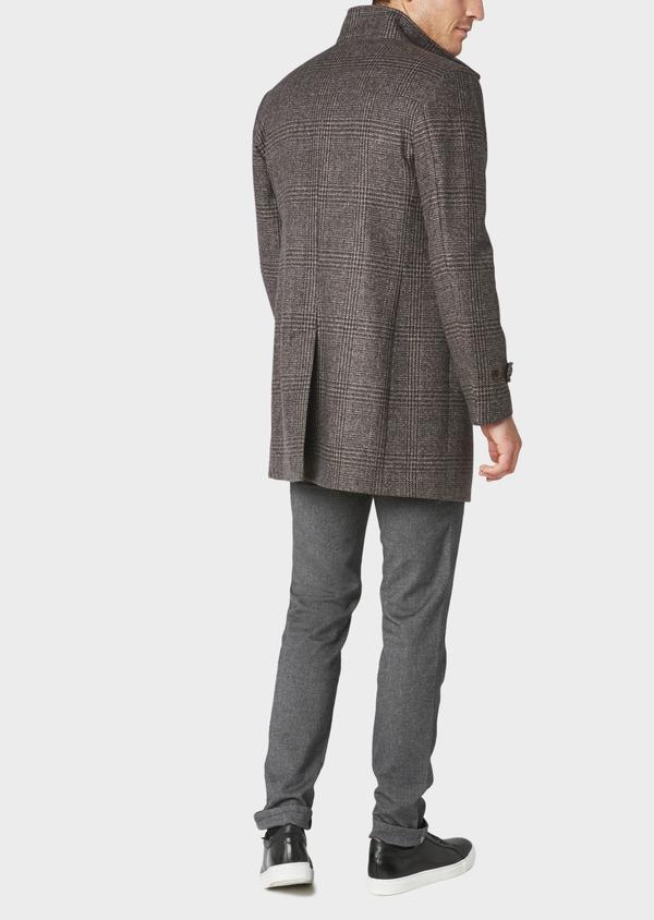 Manteau en laine à motif fantaisie marron foncé - Father and Sons 30751