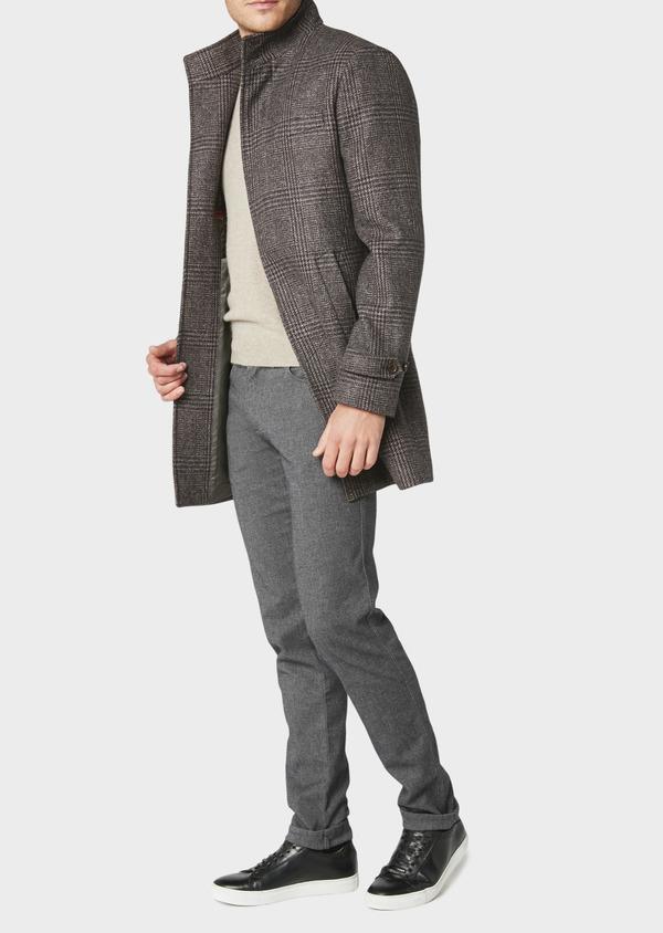 Manteau en laine à motif fantaisie marron foncé - Father and Sons 30750