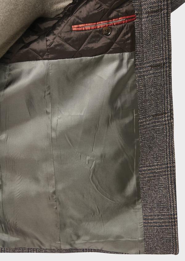 Manteau en laine à motif fantaisie marron foncé - Father and Sons 30753