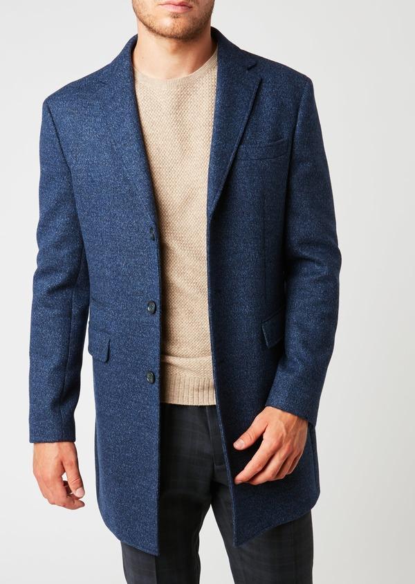 Manteau en laine à motif fantaisie bleu indigo - Father and Sons 26853