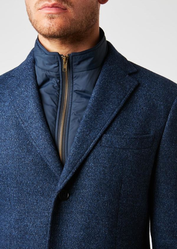 dans quelques jours nuances de couleurs délicates Manteau en laine à motif fantaisie bleu indigo