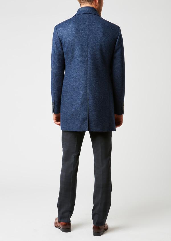 Manteau en laine à motif fantaisie bleu indigo - Father and Sons 26850