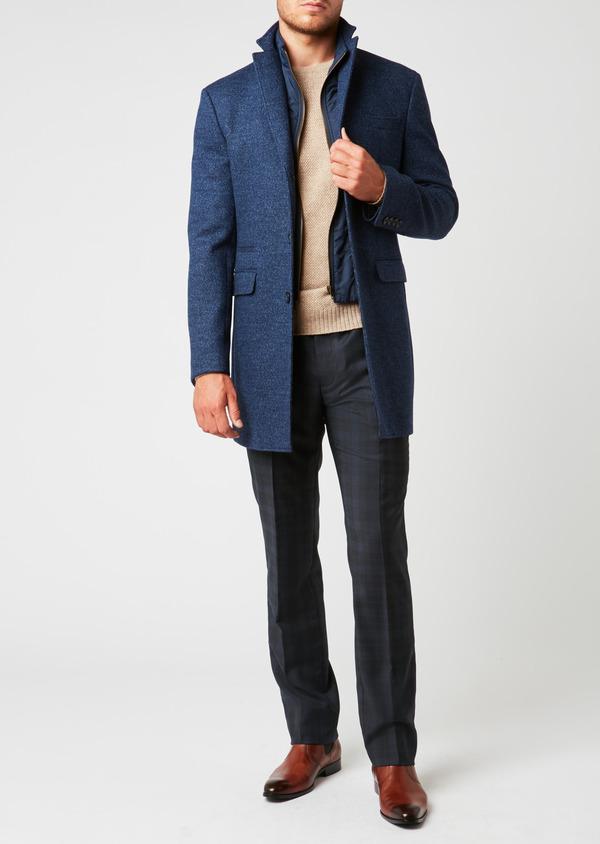 Manteau en laine à motif fantaisie bleu indigo - Father and Sons 26849