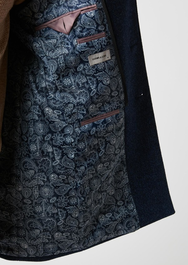 Manteau en laine à motif fantaisie bleu indigo - Father and Sons 26852