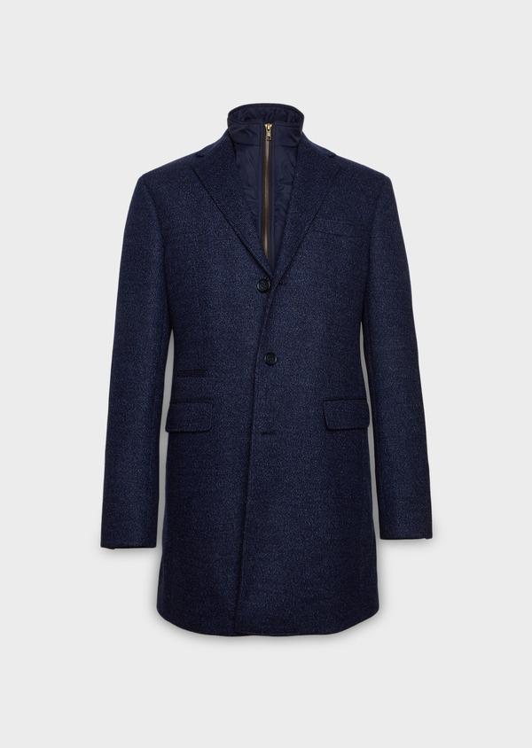 Manteau en laine à motif fantaisie bleu indigo - Father and Sons 26847
