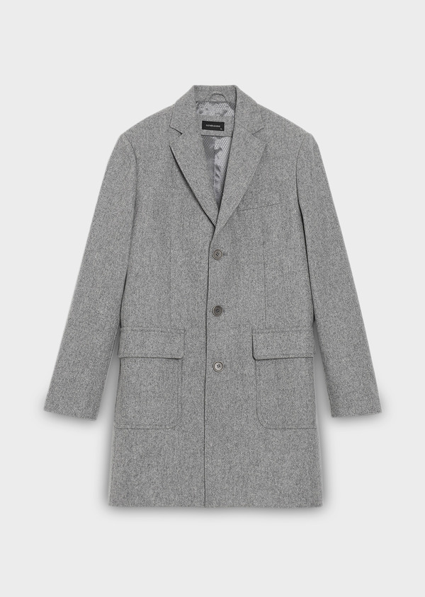 Manteau en laine mélangée unie gris perle - Father and Sons 31233