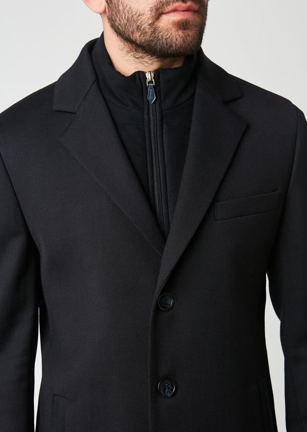 Manteau en laine mélangée unie bleu indigo - Father and Sons 27847