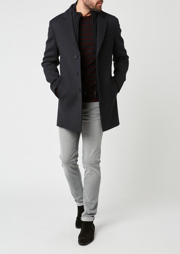 Manteau en laine mélangée unie bleu indigo - Father and Sons 27845
