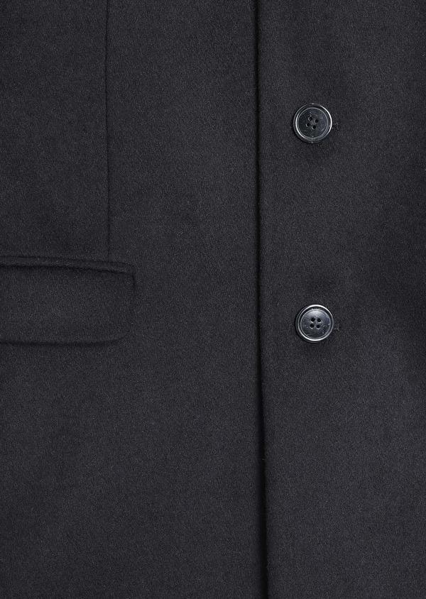 Manteau long en laine mélangée unie noir - Father and Sons 30709