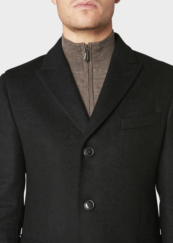 Manteau long en laine mélangée unie noir - Father and Sons 30712