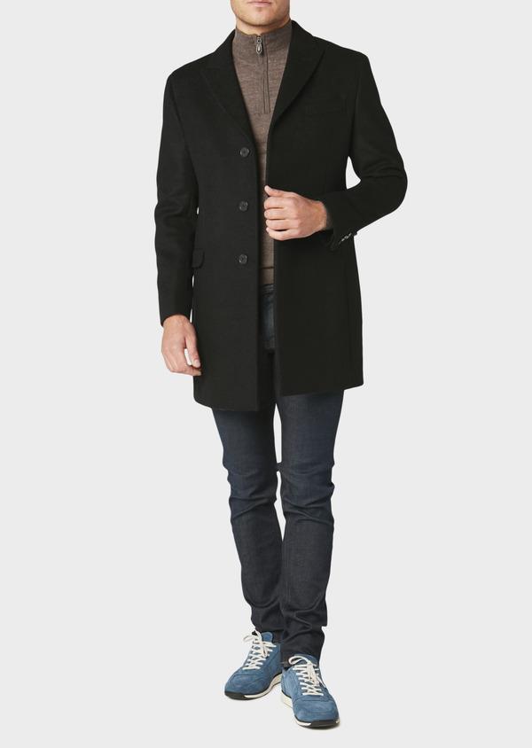 Manteau long en laine mélangée unie noir - Father and Sons 30710