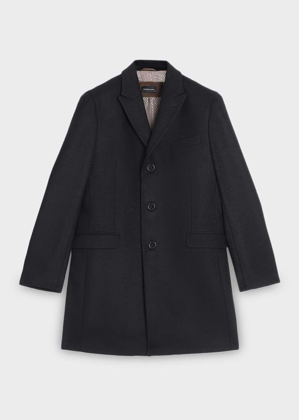 Manteau long en laine mélangée unie noir - Father and Sons 30708