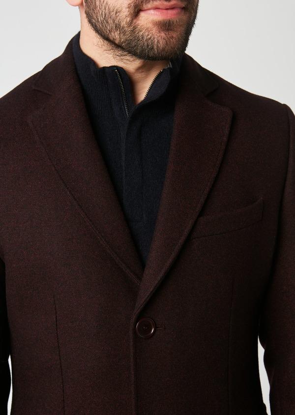 Manteau en laine mélangée unie rouge foncé - Father and Sons 27865