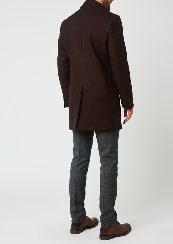 Manteau en laine mélangée unie rouge foncé - Father and Sons 27864