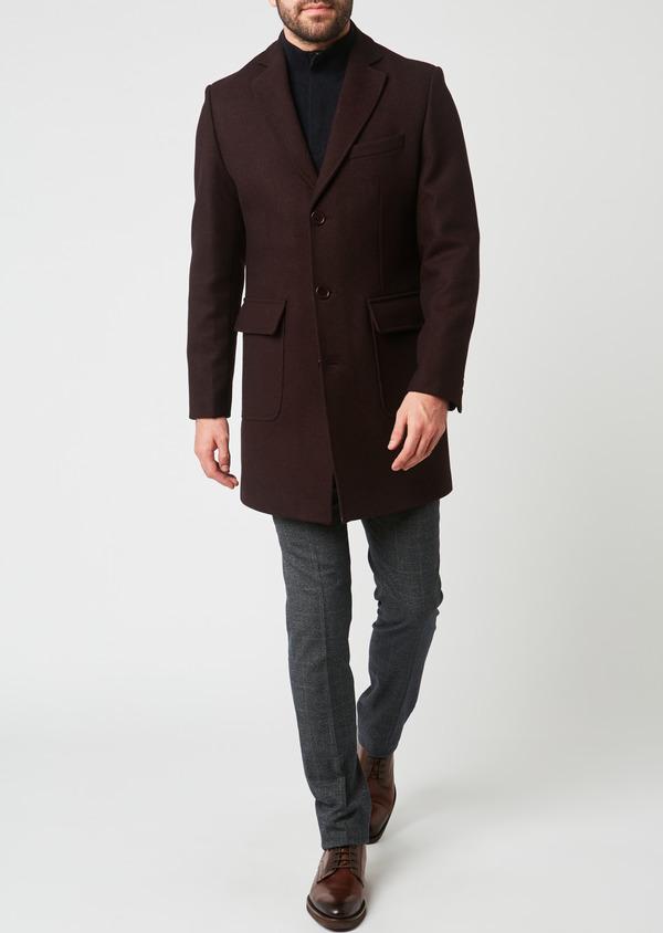 Manteau en laine mélangée unie rouge foncé - Father and Sons 27863