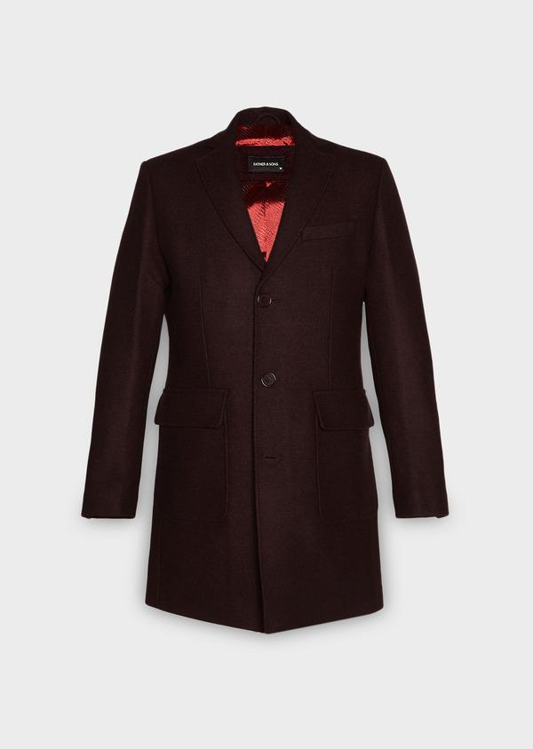 Manteau en laine mélangée unie rouge foncé - Father and Sons 27861