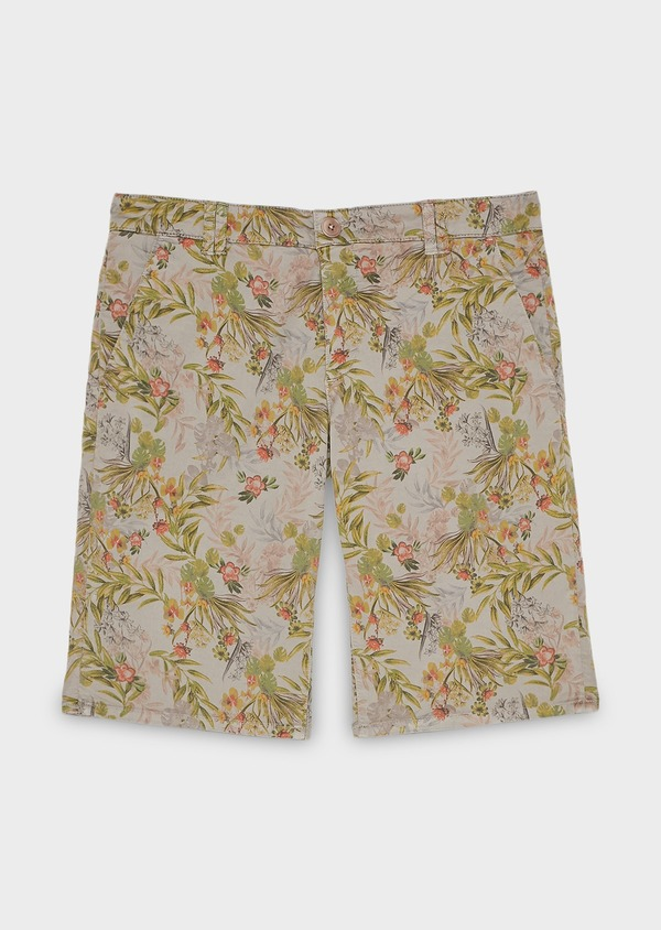 Bermuda en coton stretch marron clair à motif fleuri - Father and Sons 20057