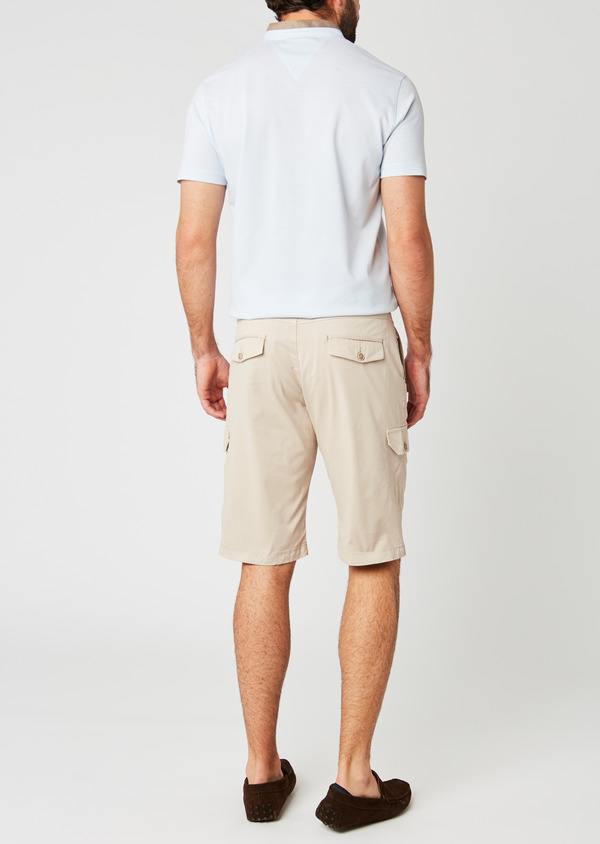 Bermuda cargo en coton stretch uni beige - Father and Sons 20036