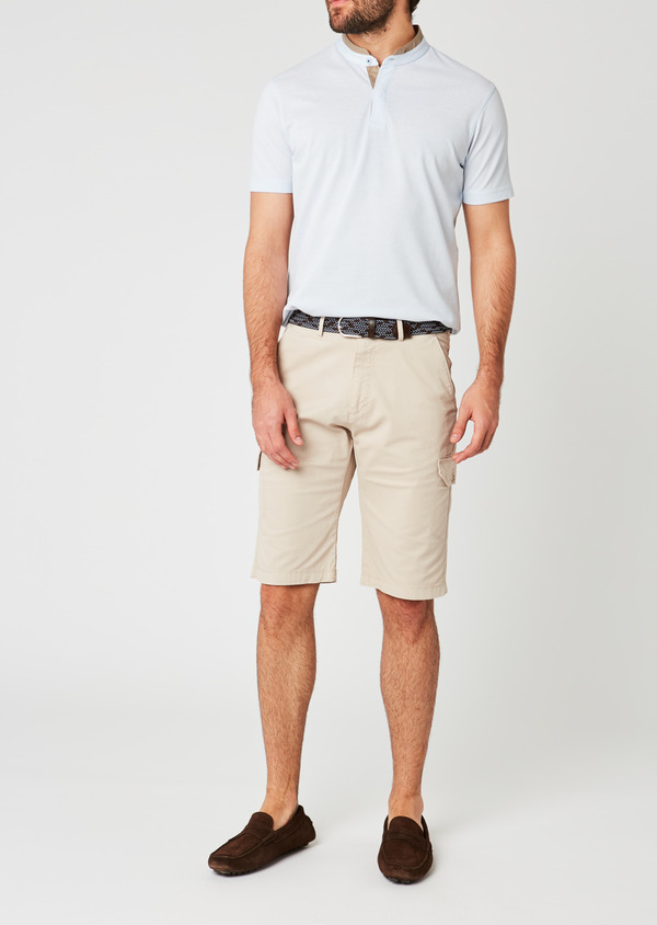 Bermuda cargo en coton stretch uni beige - Father and Sons 20035