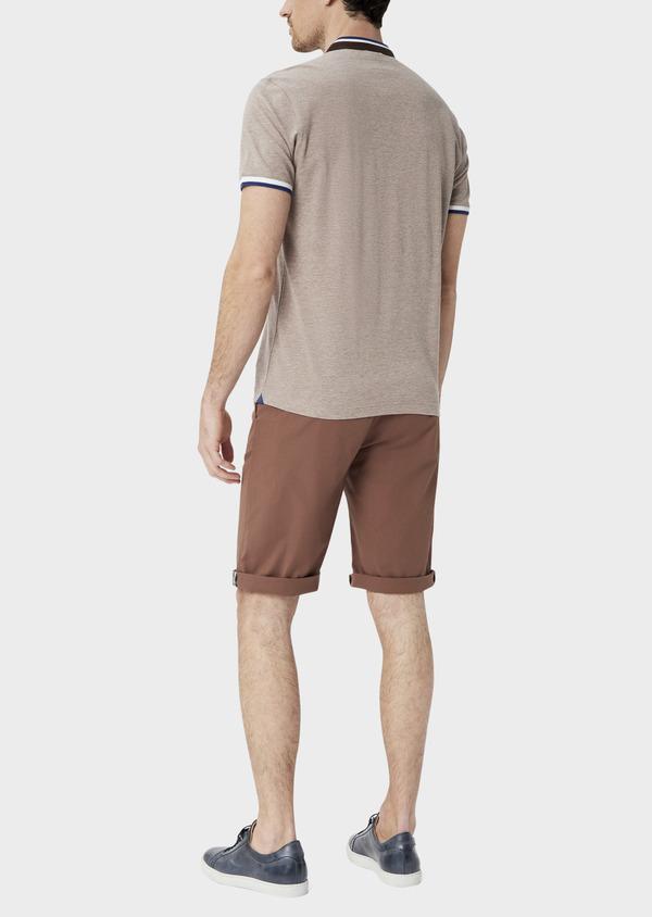 Bermuda slack en coton stretch marron à rayures - Father and Sons 39793