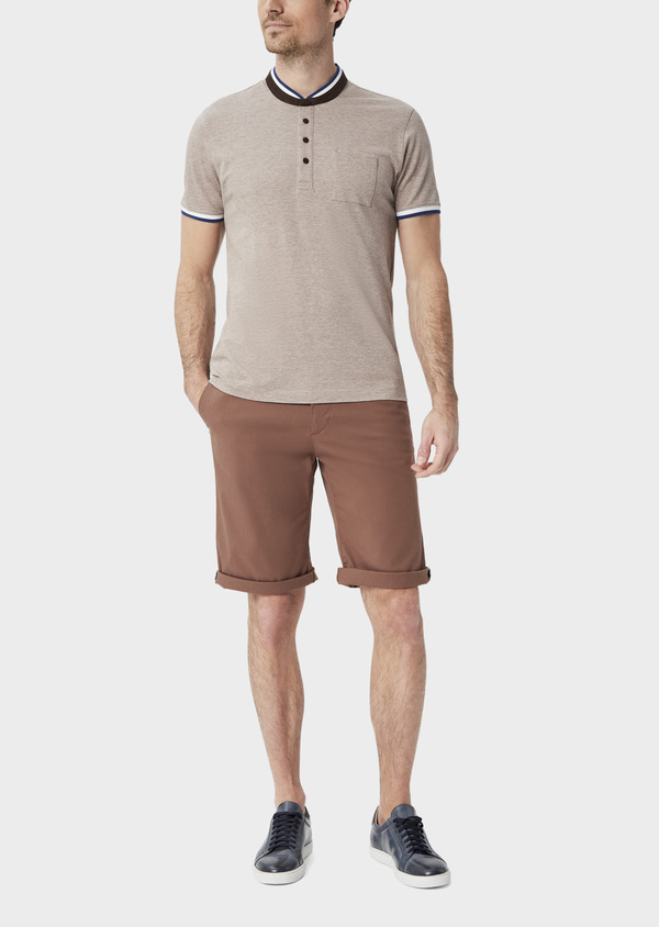 Bermuda slack en coton stretch marron à rayures - Father and Sons 39792