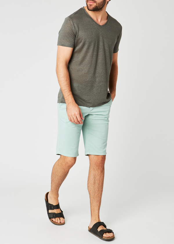 Bermuda en coton stretch uni vert clair - Father and Sons 20041