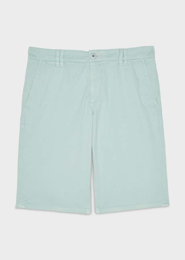 Bermuda en coton stretch uni vert clair - Father and Sons 20039