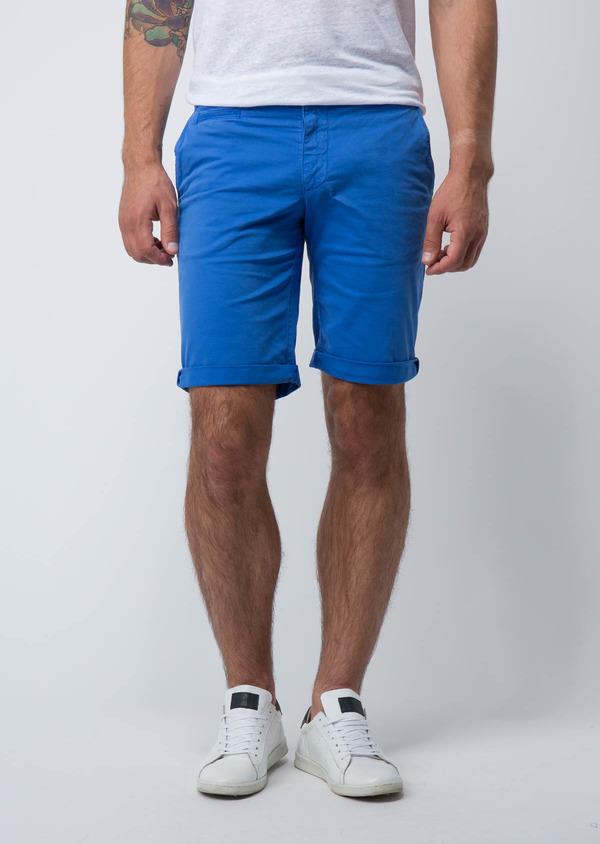 Bermuda en coton stretch uni bleu azur - Father and Sons 18866