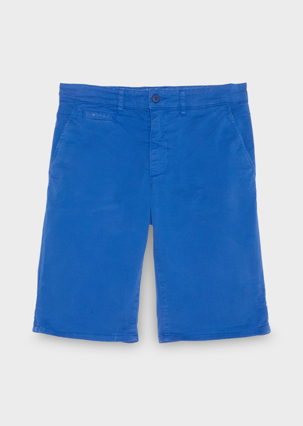 Bermuda en coton stretch uni bleu azur - Father and Sons 18865