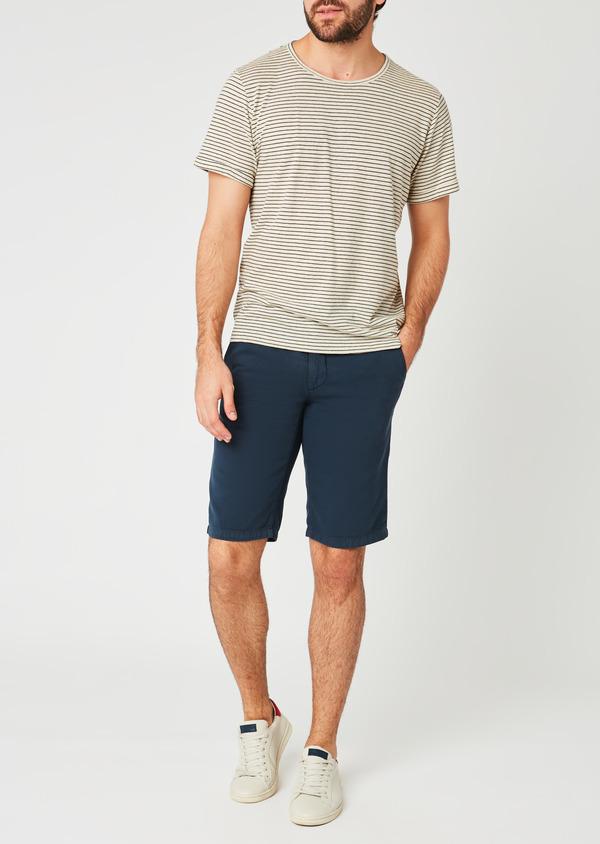 Bermuda en coton uni bleu indigo - Father and Sons 20389