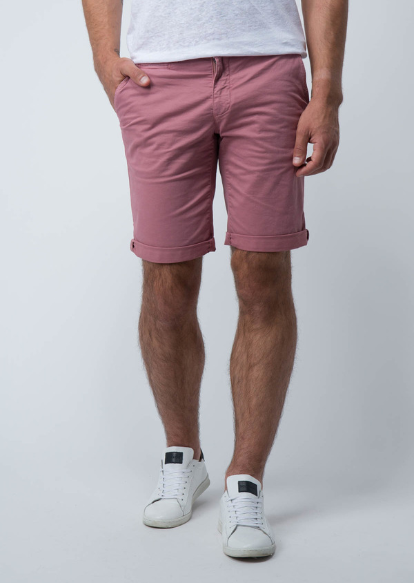 Bermuda en coton stretch uni rose - Father and Sons 18856
