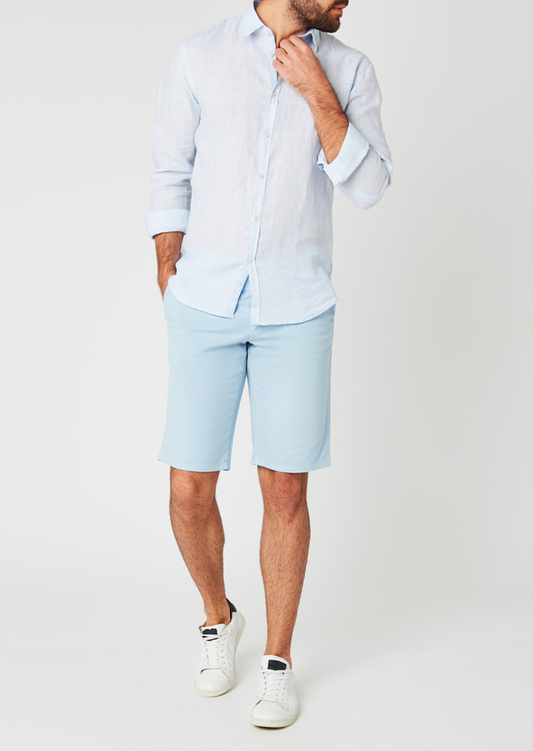 Bermuda en coton stretch uni bleu ciel - Father and Sons 20047