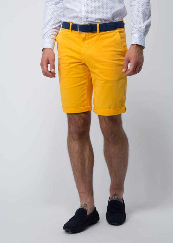 Bermuda en coton stretch uni jaune - Father and Sons 18861