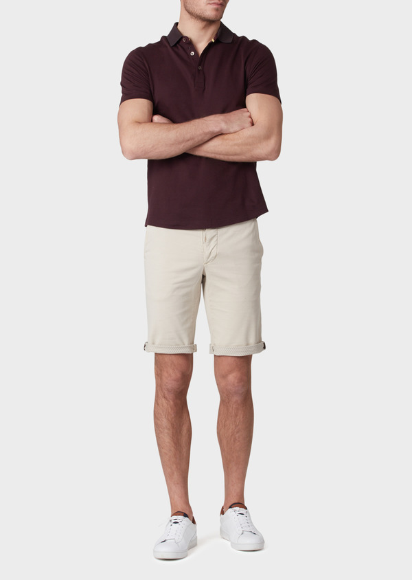 Bermuda en coton stretch uni beige - Father and Sons 33784