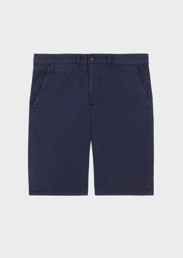 Bermuda en coton stretch uni bleu marine - Father and Sons 34558