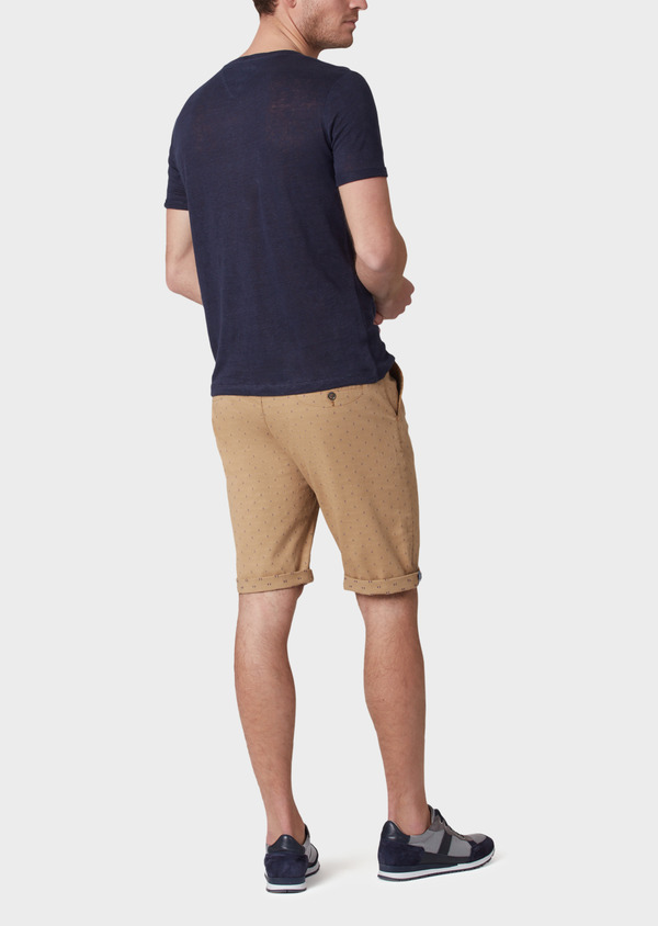 Bermuda en coton stretch uni camel - Father and Sons 33765