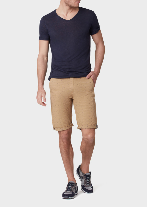 Bermuda en coton stretch uni camel - Father and Sons 33764