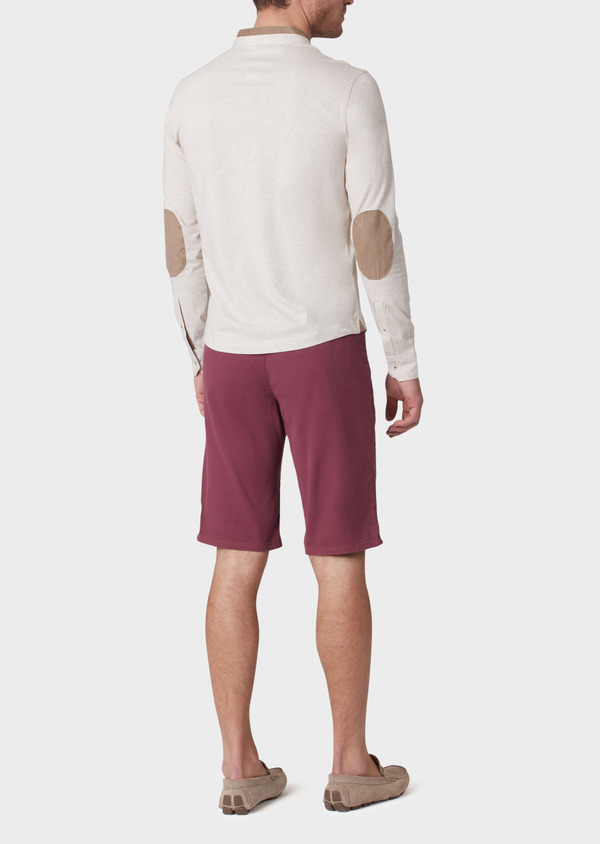 Bermuda en coton stretch uni rouge foncé - Father and Sons 33789