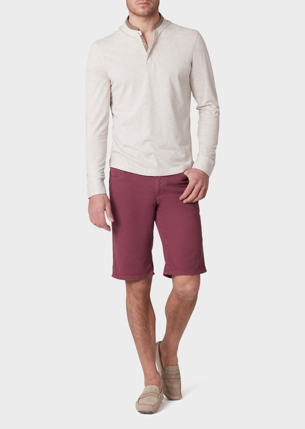 Bermuda en coton stretch uni rouge foncé - Father and Sons 33788