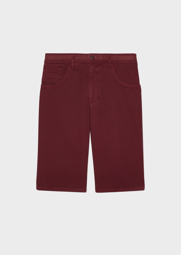 Bermuda en coton stretch uni rouge foncé - Father and Sons 33786