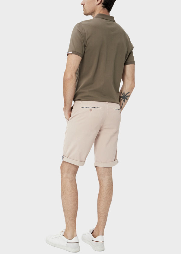 Bermuda en coton stretch uni rose clair - Father and Sons 34479