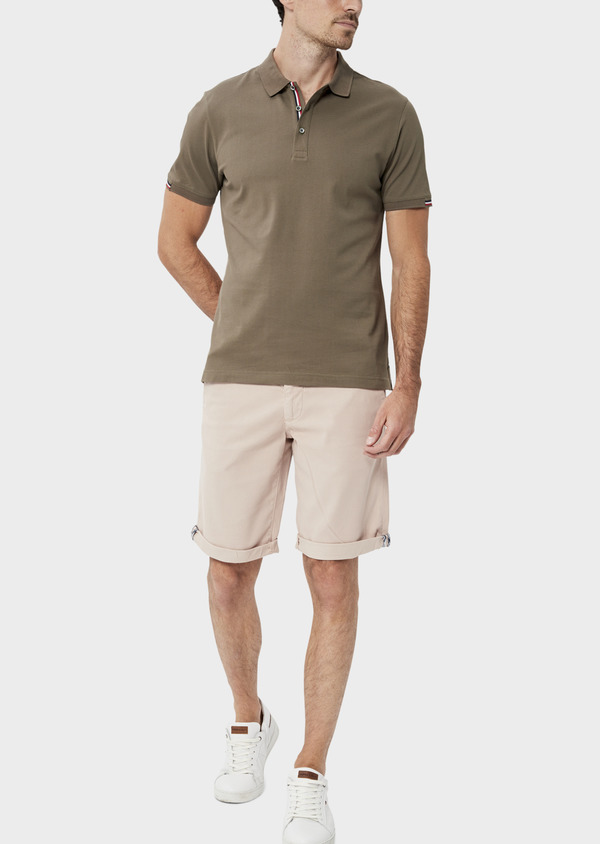 Bermuda en coton stretch uni rose clair - Father and Sons 34478