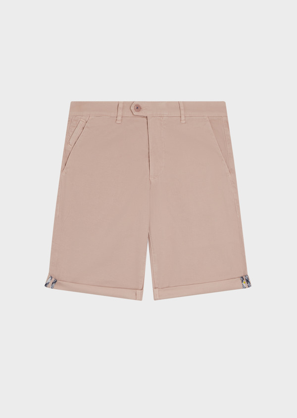 Bermuda en coton stretch uni rose clair - Father and Sons 34476