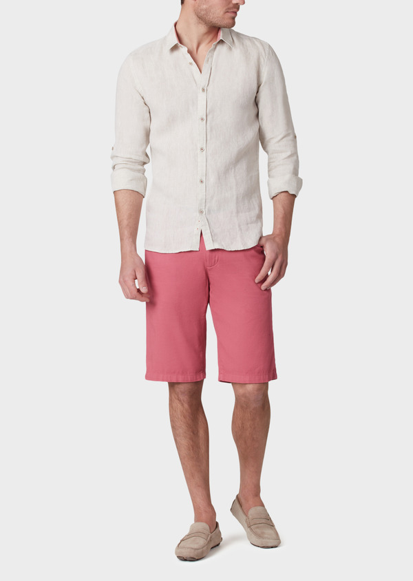 Bermuda en coton stretch uni rose - Father and Sons 33756