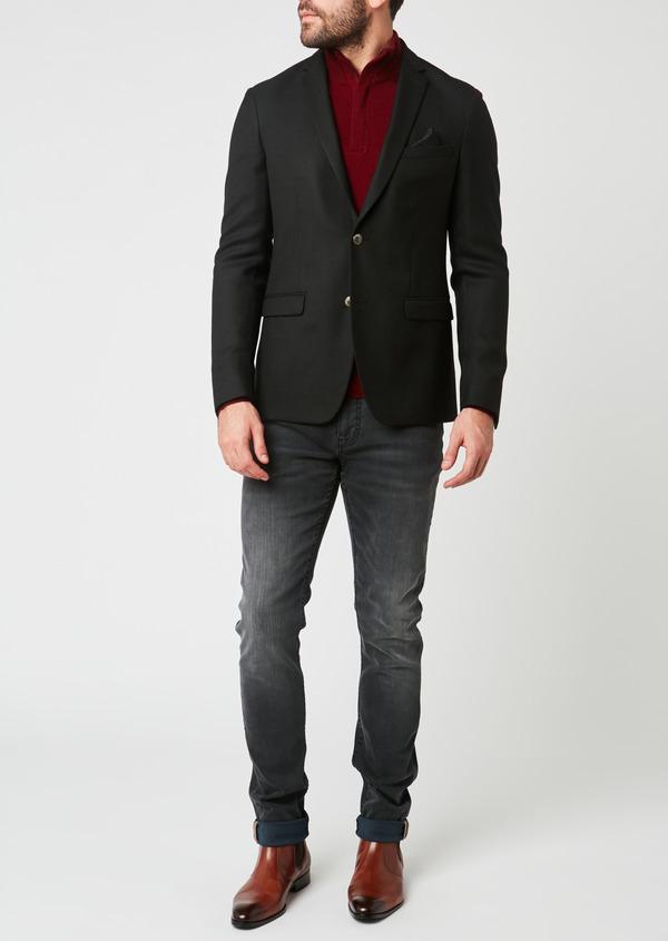 Blazer Slim en laine natée uni noir - Father and Sons 27441