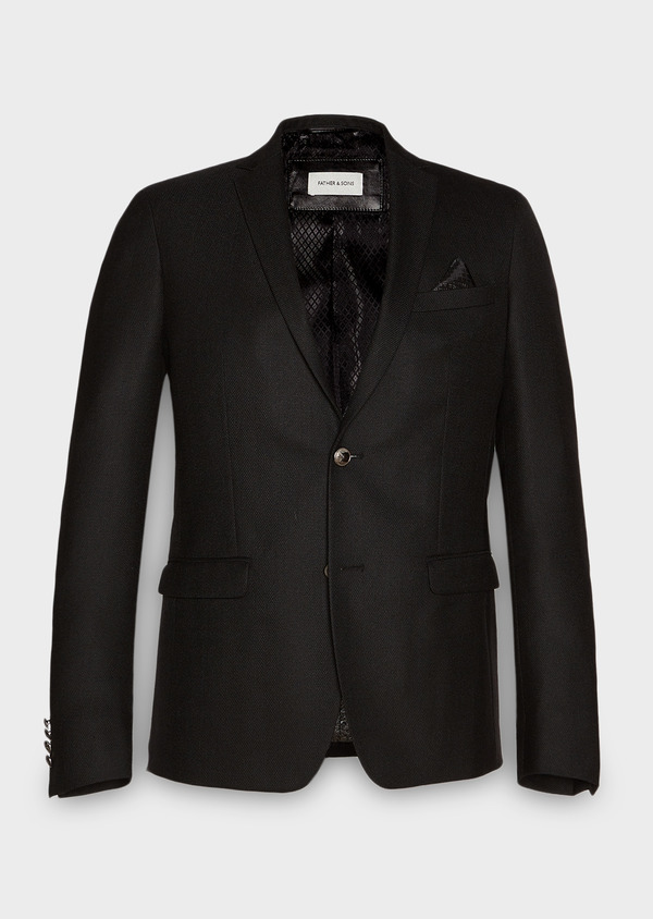 Blazer Slim en laine natée uni noir - Father and Sons 27439