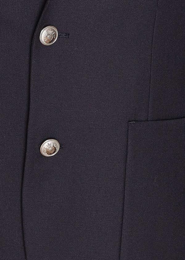 Blazer slim en laine mélangée unie bleu marine - Father and Sons 31554