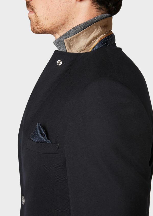 Blazer slim en laine mélangée unie bleu marine - Father and Sons 31557