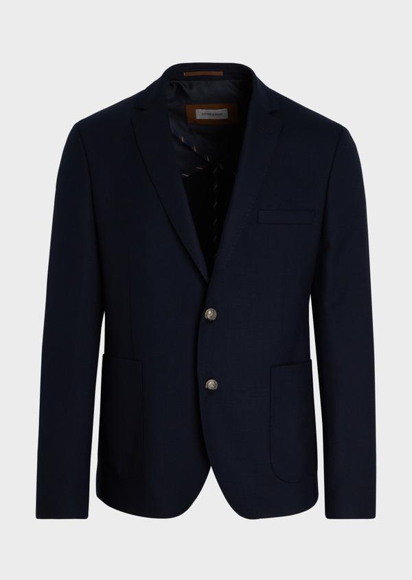 Blazer Slim en laine mélangée unie bleu marine - Father and Sons 34480