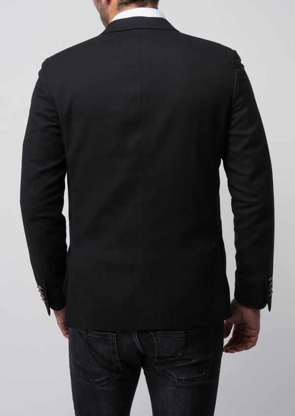 Blazer slim en coton mélangé uni noir - Father and Sons 29106